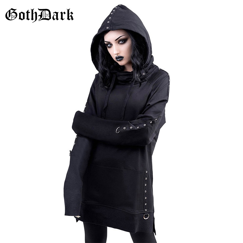 Goth Dark Vintage Black Grunge Gothic Sweatshrit Women Harajuku Punk Rivet Patchwork Fall 2019 Hoodies Pocket Hole Bandage Chic