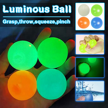 45/65mm Fluorescent Sticky Wall Ball Sticky Target Ball Decompression Toy Kids Christmas Gift Free shipping Juguetes luminosos image