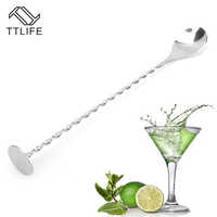 TTLIFE Stainless Steel Threaded Bar Spoon Swizzle Stick Coffee Cocktail Mojito Wine Spoons Barware Bartender Tools Accessories