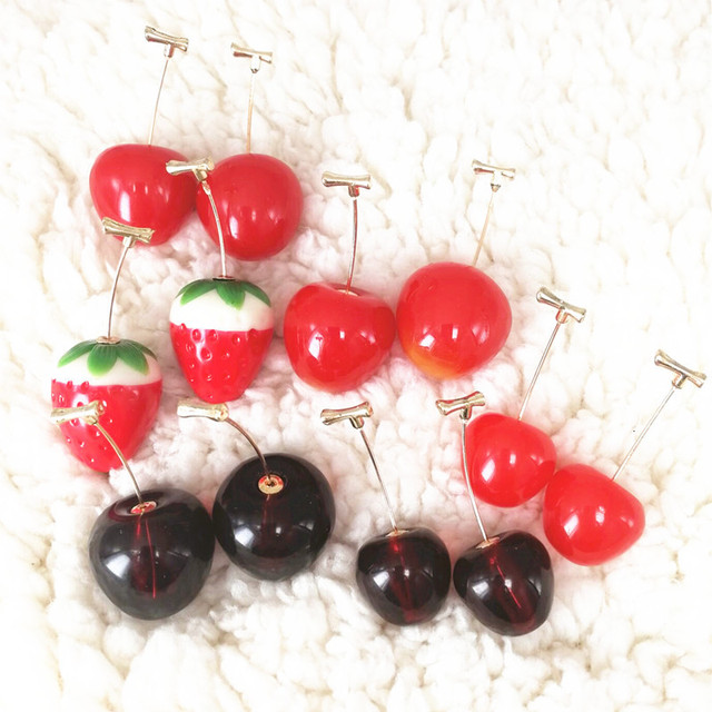 Red Cherry Gold Drop Earrings 2
