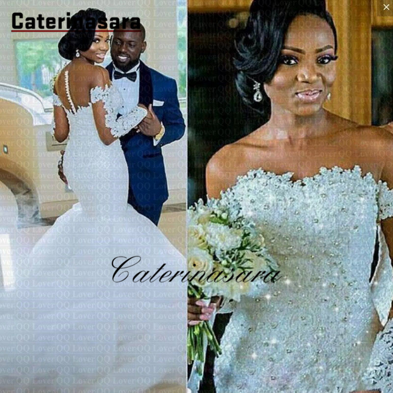 New Arabic African Long Sleeve Mermaid Wedding Dress Sheer Neck Crystals Beading Wedding Gowns