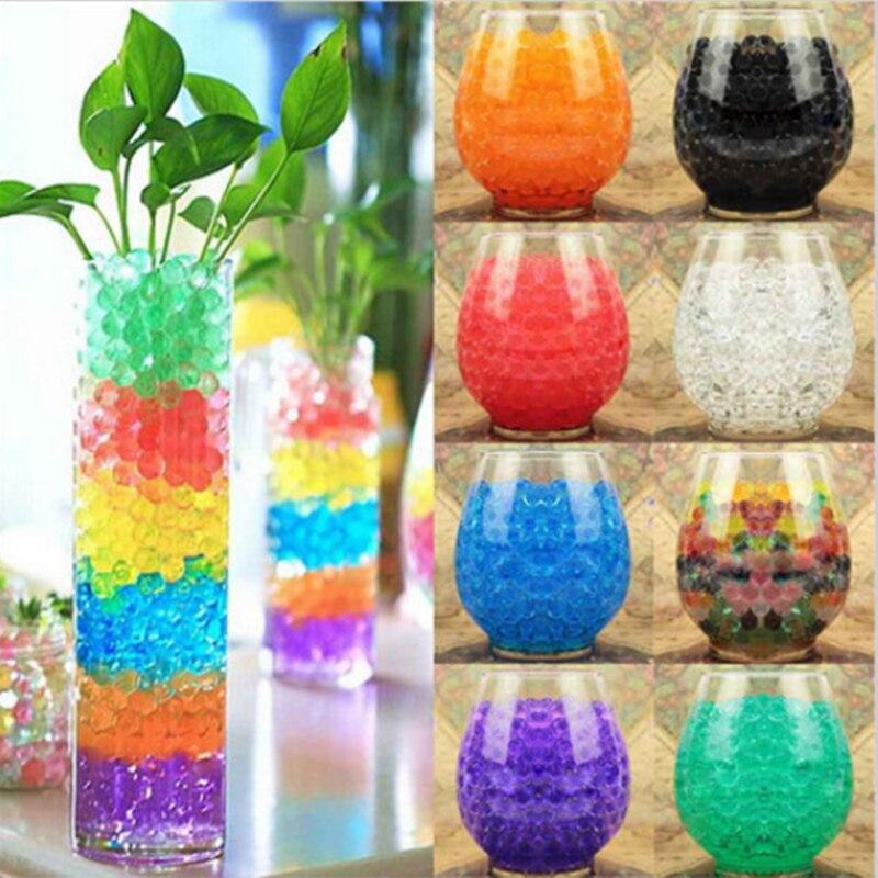 100 pçs/saco cristal do solo hidrogel gel polímero contas de água decoração do casamento flor polímero bolas de água crescente grande decoração para casa f