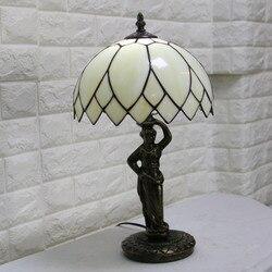 Lampa stołowa tiffany witraż europejski barokowy klasyczny do salonu E27 110-240V
