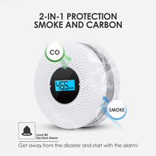 2 in 1Carbon Monoxide Smoke Fire Detector Home Security Protection High Sensitive Equipment LED Display Alarm