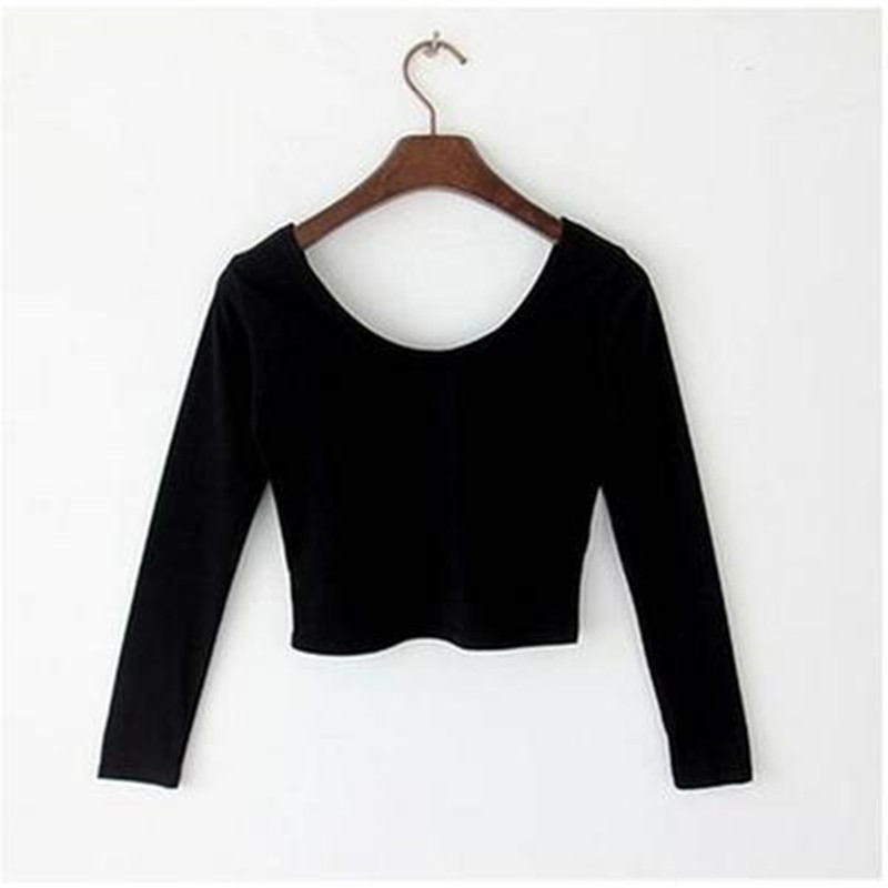 2019 Spring And Autumn Short Design O-neck T-shirt Tops Slim High Waist 100% Cotton Sexy Crop Top Female Top Long-sleeve T-shirt