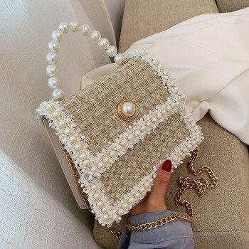 2020 Fashion New Female Square Tote bag Quality Woolen Pearl Women's Designer Handbag Ladies Chain Shoulder Crossbody Bag