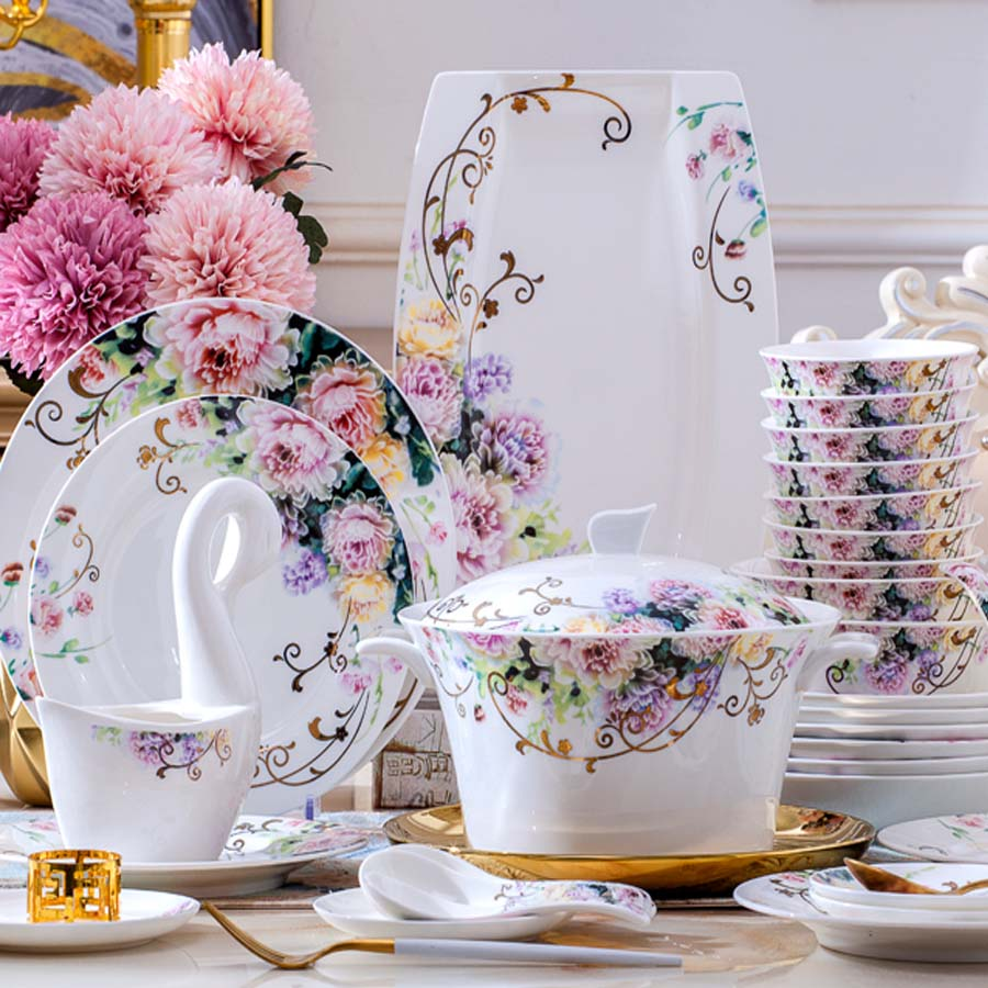 Jingdezhen-ensemble de bols chinois | Ensemble de plats 60 têtes maison simple européenne céramique ensemble de plats et d'assiettes