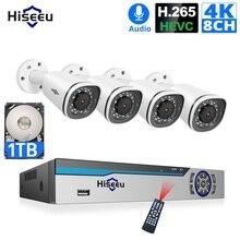 Hiseeu 4 IP カメラ POE NVR 8CH システム H.265 CCTV セキュリティキット 8MP 屋外耐候 P2P 1T HDD リモートビューアプリ Windows