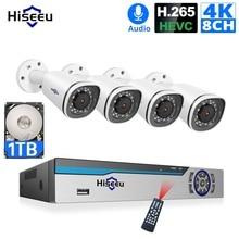 Hiseeu 4K Macchina Fotografica del IP di POE NVR 8CH Sistema di H.265 CCTV Kit di Sicurezza 8MP Esterni, impermeabile P2P 1T HDD vista a distanza App Finestre
