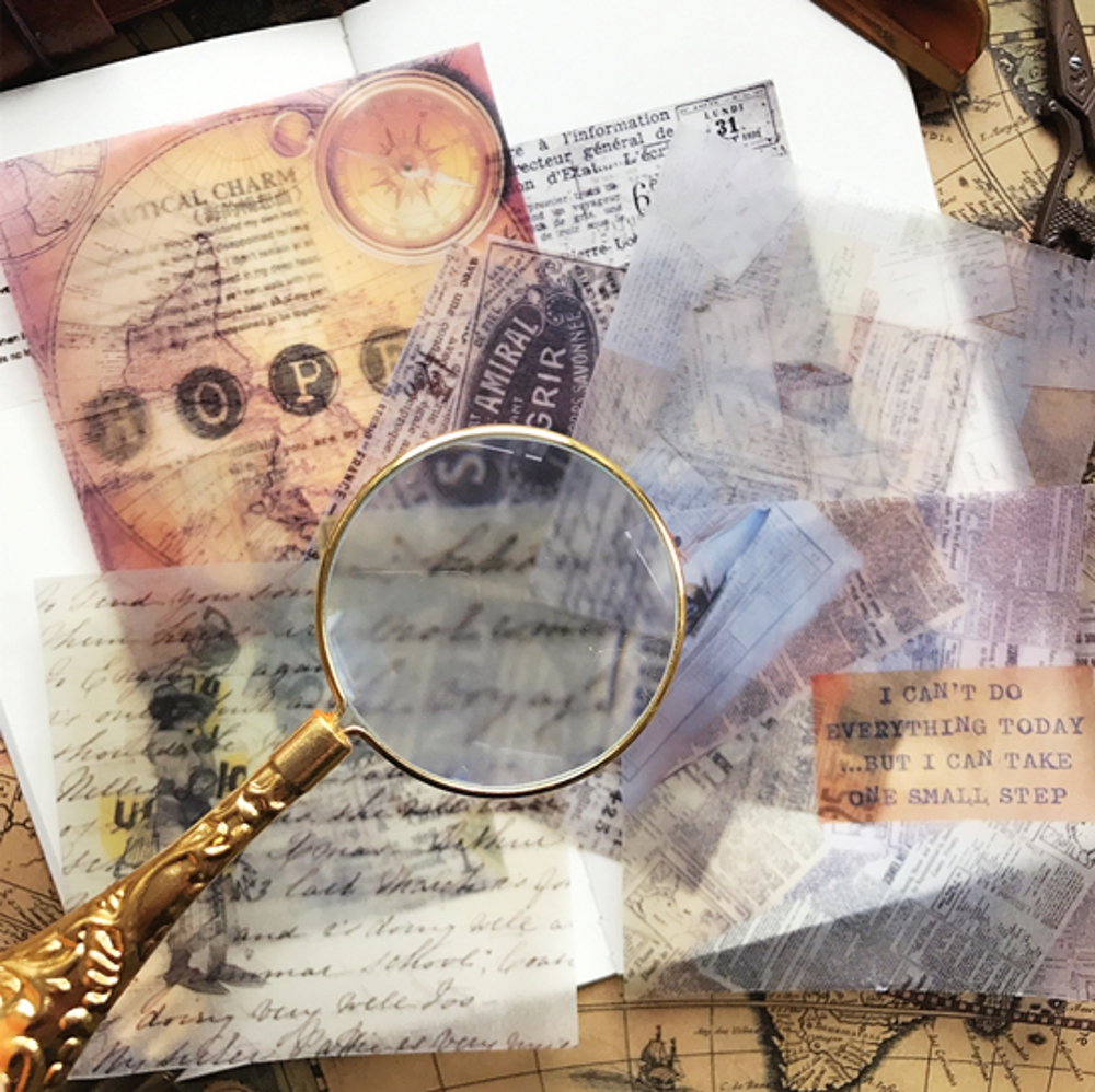 6 Teile/paket Vintage Pergament Papier Zeitung Karte Aufkleber DIY Handwerk Scrapbooking Album Junk Journal Planer Dekorative Aufkleber