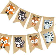 Animal-Banner Garland Pennant Birthday-Party-Decorations Baby Shower Jungle Bunting Kids