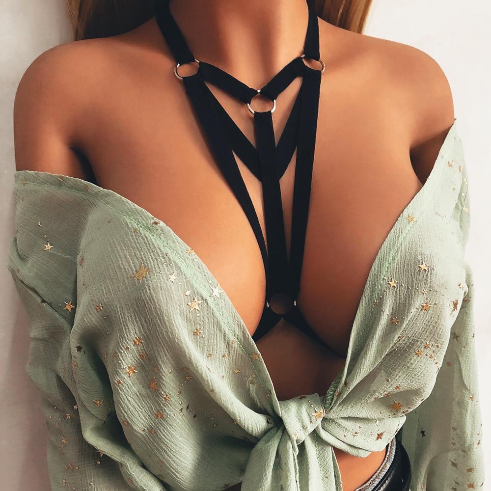 Women Sexy Lingerie Bandage Erotic Halter Bra Strappy Open Bra Gothic Bondage Lingerie Garter Strap Underwear Belt Sexy