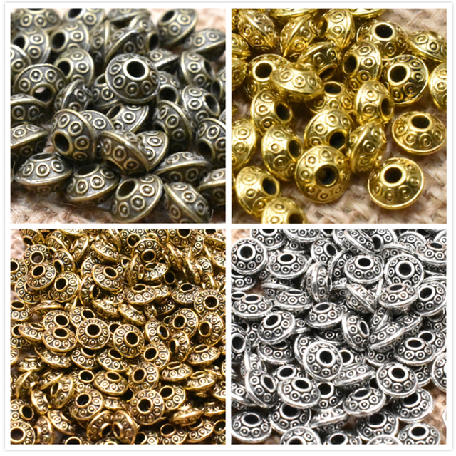 Yanqi 50pcs 6mm Tibetan Antique Metal Gold Silver Oval UFO Beads Loose Spacer Beads for Jewelry Making DIY Charms Bracelet 1