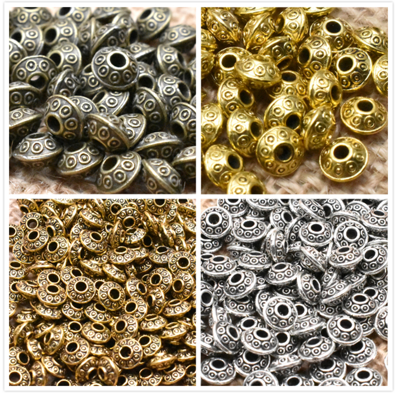 Yanqi 50pcs 6mm Tibetan Antique Metal Gold Silver Oval UFO Beads Loose Spacer Beads For Jewelry Making DIY Charms Bracelet