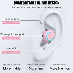 Image 3 - TWS Bluetooth 5.0 หูฟังหูฟังไร้สายหูฟัง 9D STEREO กีฬาผู้หญิงสีชมพูหูฟังพร้อมไมโครโฟนสำหรับ IOS Android