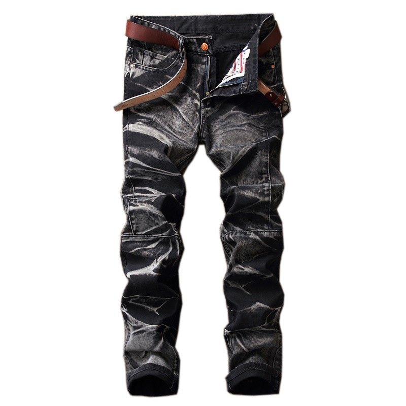 Casual Jeans Retro Patchwork Cowboy Trousers High Quality Printed Jeans Black Cotton Men Wash Straight Jeans 2020 Autumn Winter