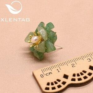 Женские серьги-гвоздики с натуральным нефритом XlentAg, серьги-гвоздики с натуральным жемчугом и цветком, серебро 925 пробы, ювелирное изделие GE0780F