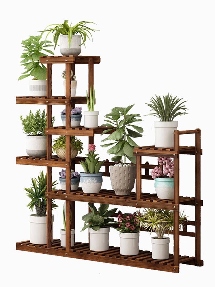 Multi-storey Indoor Solid Wood Quality A Living Room Balcony Storage Household Meaty Landing Type  Flowerpot Frame