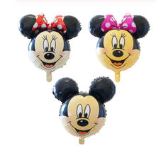 10pcs Mini Mickey Minnie Head Foil Balloons Kids Cartoon Classic Toys inflatable Helium Balloon Birthday Party Decor Supplies(China)