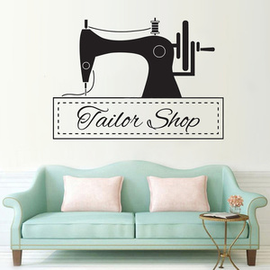 Швейная машина, Настенная Наклейка для портного магазина, Настенный декор, Виниловая наклейка, украшение магазина одежды, вышивка в виде ст...