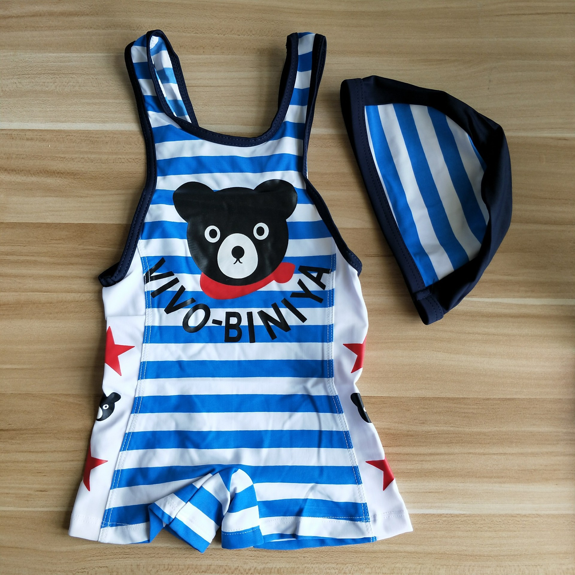 CHILDREN'S Swimwear Bear Stripes BOY'S One-piece Set New Style Boy Baby Sun-resistant Swimwear