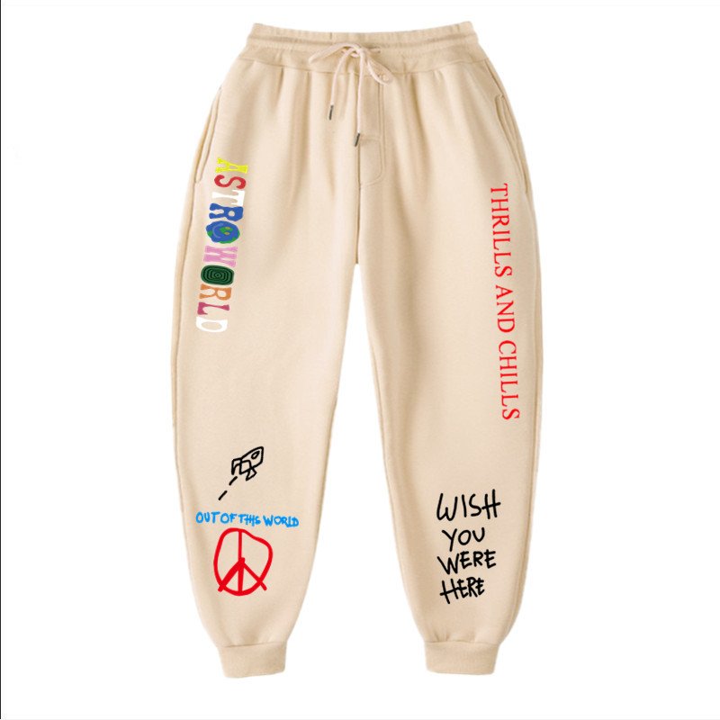 Осенне-зимние штаны для мужчин и женщин, тренировочные штаны с принтом надписей Тревиса Скотта астромира, уличная одежда в стиле хип-хоп, му...