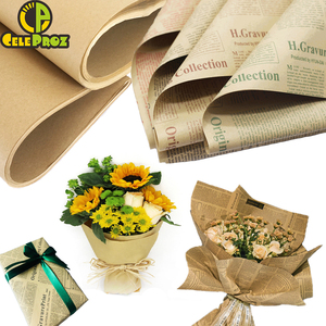 Kraft Paper Vintage Newspaper Gift Flower Wrapping Paper Roll DIY Handmade Creative Material Birthday Wedding Party Decorations