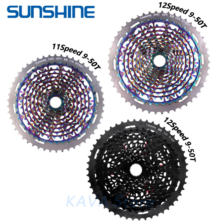 SUNSHINE MTB Mountain bike Freewheel 11S 12 Speed 9-50T XD Ultralight Cassette 375g ULT flywheel rainbow For SRAM XD k7