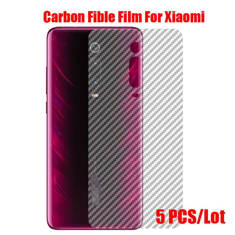 5Pcs Carbon Fiber Back Screen Protector Film <font><b>Sticker</b></font> For Xiaomi Mi 4C 5C 8 8SE 8 Lite Pro 9 9SE 9T Pro Lite CC9 CC9E Back Film image
