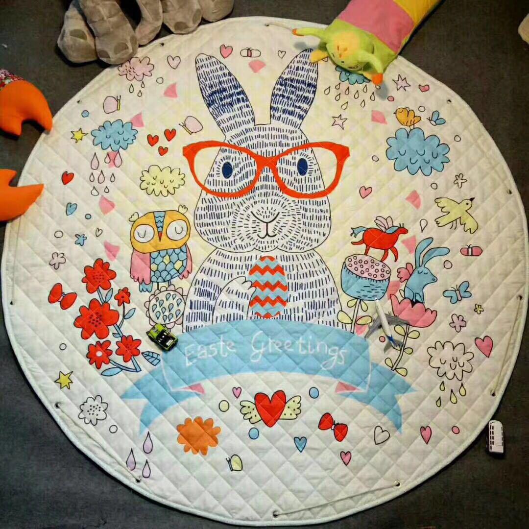 H1c57f6656f274e388bc6a678c4d078ff1 Kid Soft Carpet Rugs Cartoon Animals Fox Baby Play Mats Child Crawling Blanket Carpet Toys Storage Bag Kids Room Decoration
