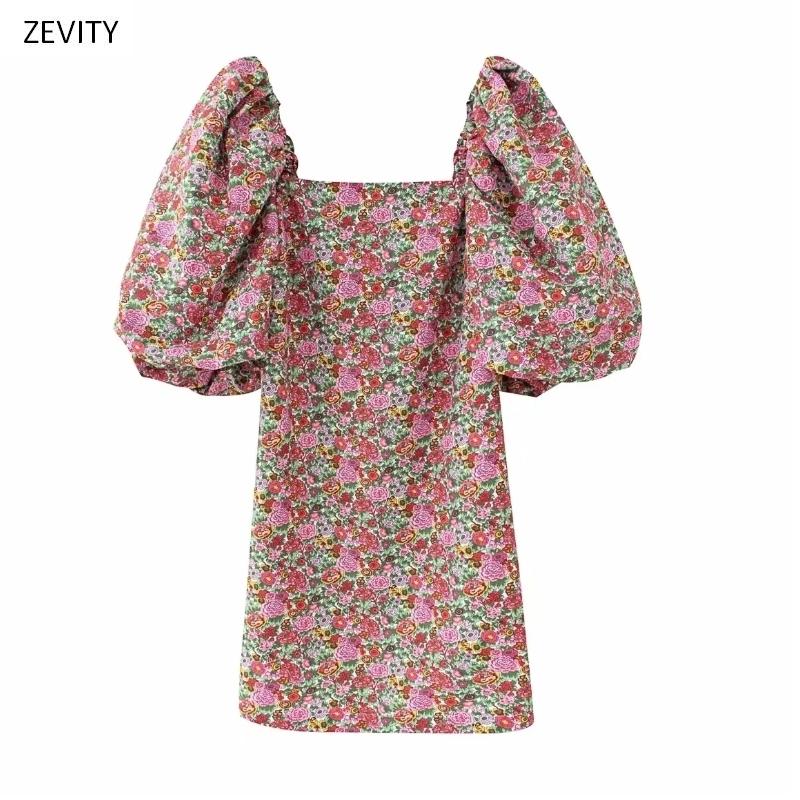 2020 women vintage floral vestidos print puff sleeve mini dress female retro square collar casual slim streetwear dresses DS3957