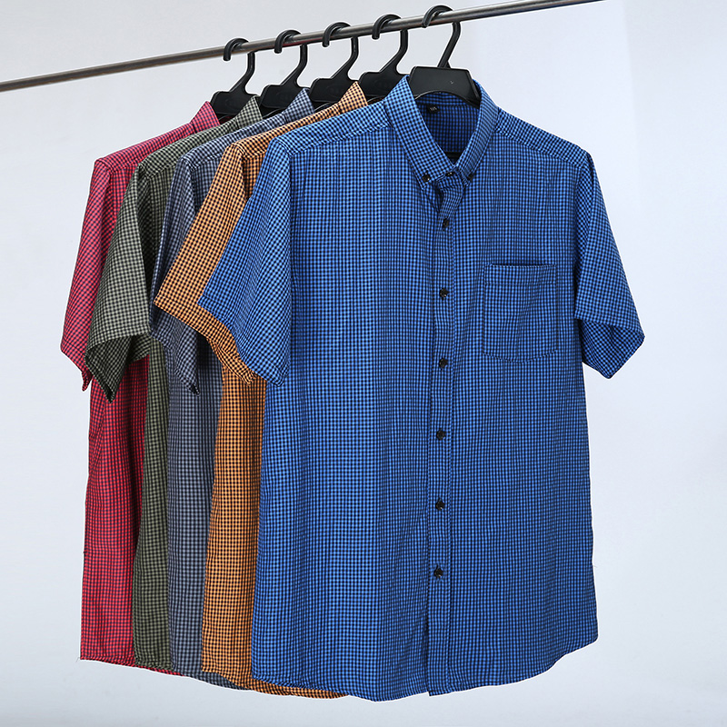 5 Color Summer Short Sleeve Shirt Men Loose Casual Classic Plaid Business Plus Size Shirts Male Brand Clothes 6XL 7XL 8XL 10XL