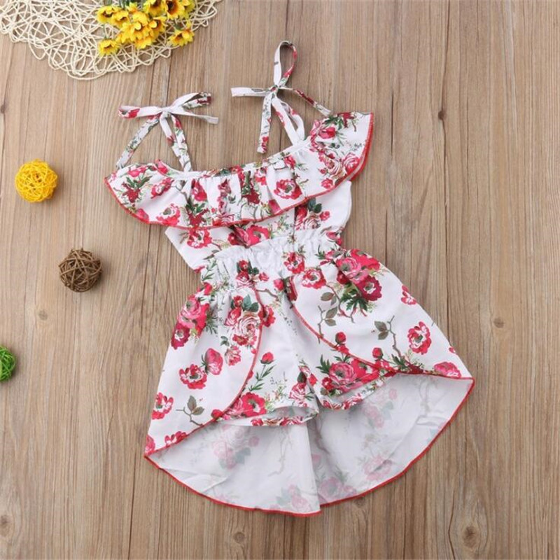 Princess Straps Jumpsuit Summer Children Clothing Fashion Girls Suit Flower Printing Straps Jumpsuit Ropa Mujer