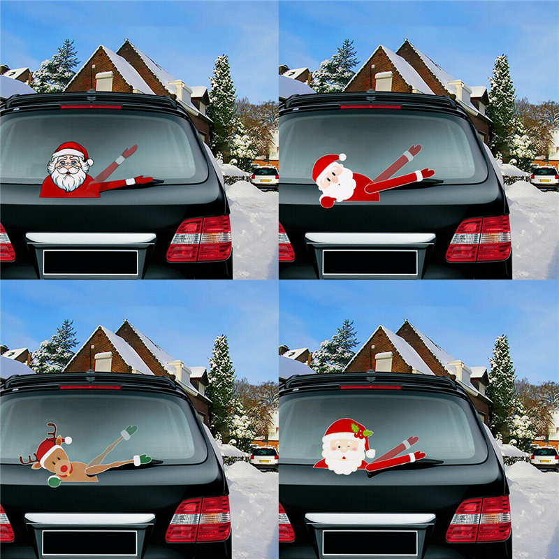 Image 2 - 2019 New Car Accessories Christmas Auto Decorations DIY Car Sticker Windshield Santa Claus Cute Window Decals Car Wiper Sticker-in Car Stickers from Automobiles & Motorcycles