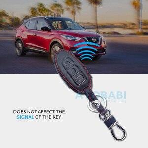 Image 4 - Leather Car Key Case For Nissan 350Z Almera Altima Armada Qashqai Cefiro Cube Juke Livina Remote Fob Protect Cover Keychain Bag