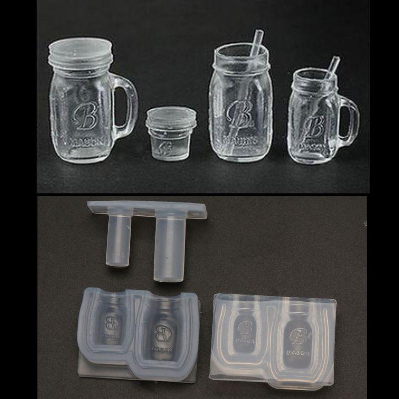 Mini Honey Jar Mold Bottle Pendant Resin Mold Miniture Food Play Silicone Mold