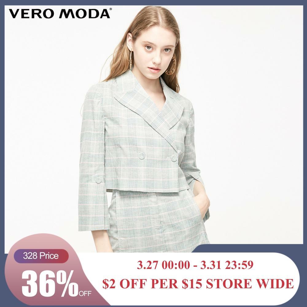 Vero Moda Women's Houndstooth Two-button Short Blazer | 319208512