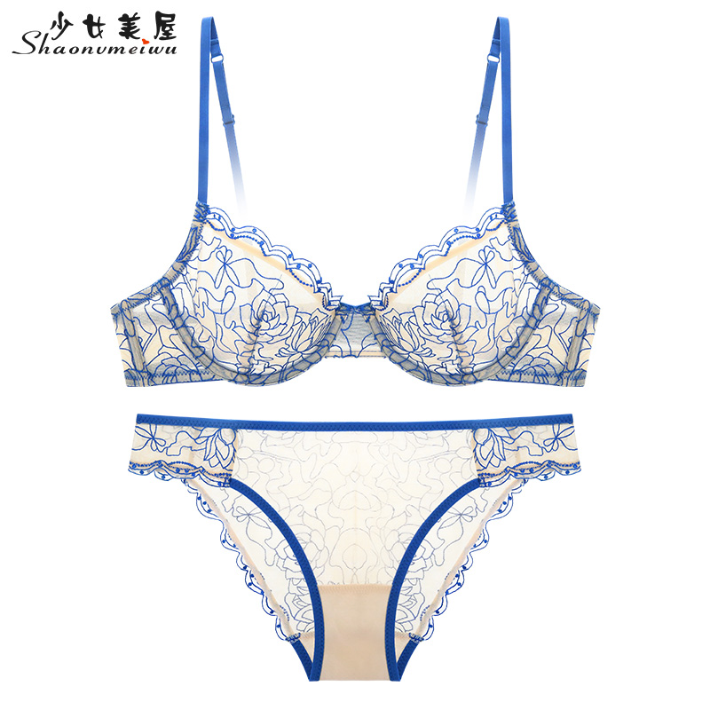 Spring And Summer New Super Thin Transparent European And American Lady Bra Set Sexy Underwear Embroidery Lace Bra