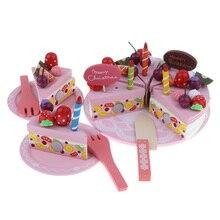 Crianças fingir jogar comida, corte de madeira festa de aniversário, bolo, brinquedos, conjunto, tarde, chá sobremesa, modelo, brinquedo de interação pai filho