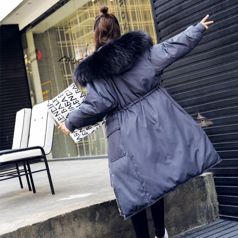 Super Warm Winter Down Coat Women Long Hooded Duck Down Jacket Large Raccoon Fur Loose Parkas Campera Pluma Mujer LX2246