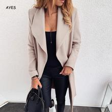 2019 Fashion Women Wool Blend Overcoat Solid Color Autumn