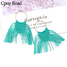 Cpop New Fashion Handmade Weave Macrame Earring Ethnic Feather Fringe Tassel Earrings Bridesmaid Gifts Jewelry Women Accessories