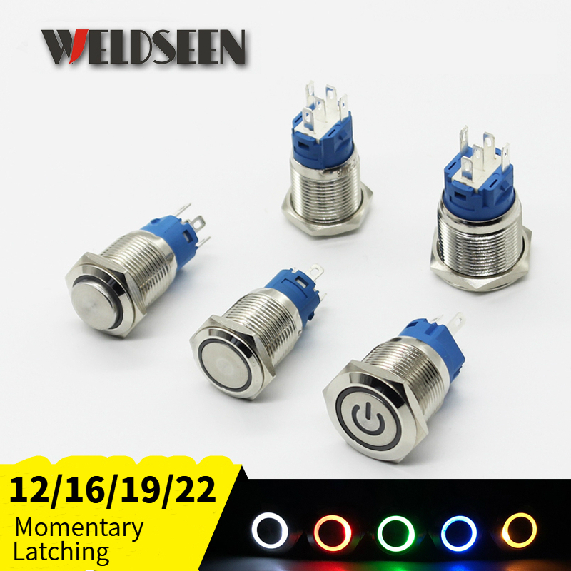 12/16/19/22mm Metal Push Button Switch Momentary Latching Fixed On Off Power Switch Button LED Light 3V 6V 12V 24V 220V