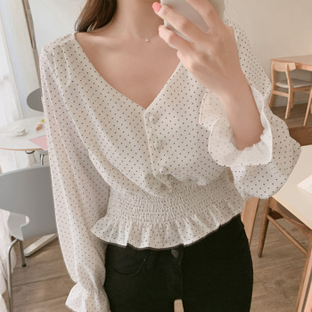 Vintage V-neck Flare Sleeve Polka Dot Women Blouse Shirts Elegant Front Buttons Slim Waist Ruffles Female Blouse blusas 6602 50 2