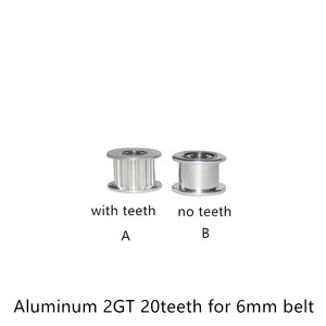 2GT 20 Teeth synchronous Wheel Idler Pulley Bore 3mm 4mm 5mm with Bearing for GT2 Timing belt width 6mm 20teeth 20T(China)