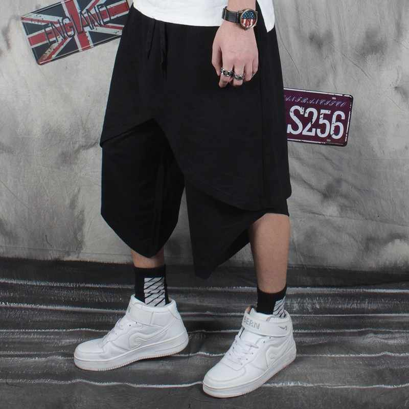 Punk Zomer Mannen Shorts Zwart Hip Hop Harem Baggy Split Shorts Mannen Streetwear Fashion High Street Shorts Mannen Losse Dans kleding