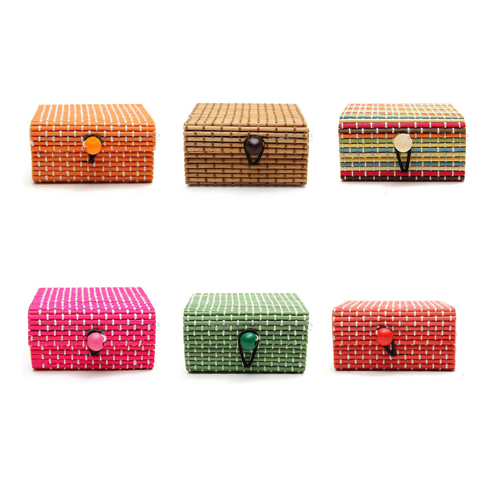 Cute Bamboo Wooden Ring Necklace Earrings Case Makeup Case Holder 6 Colors Cute Jewelry Box Storage Organizer 9.10