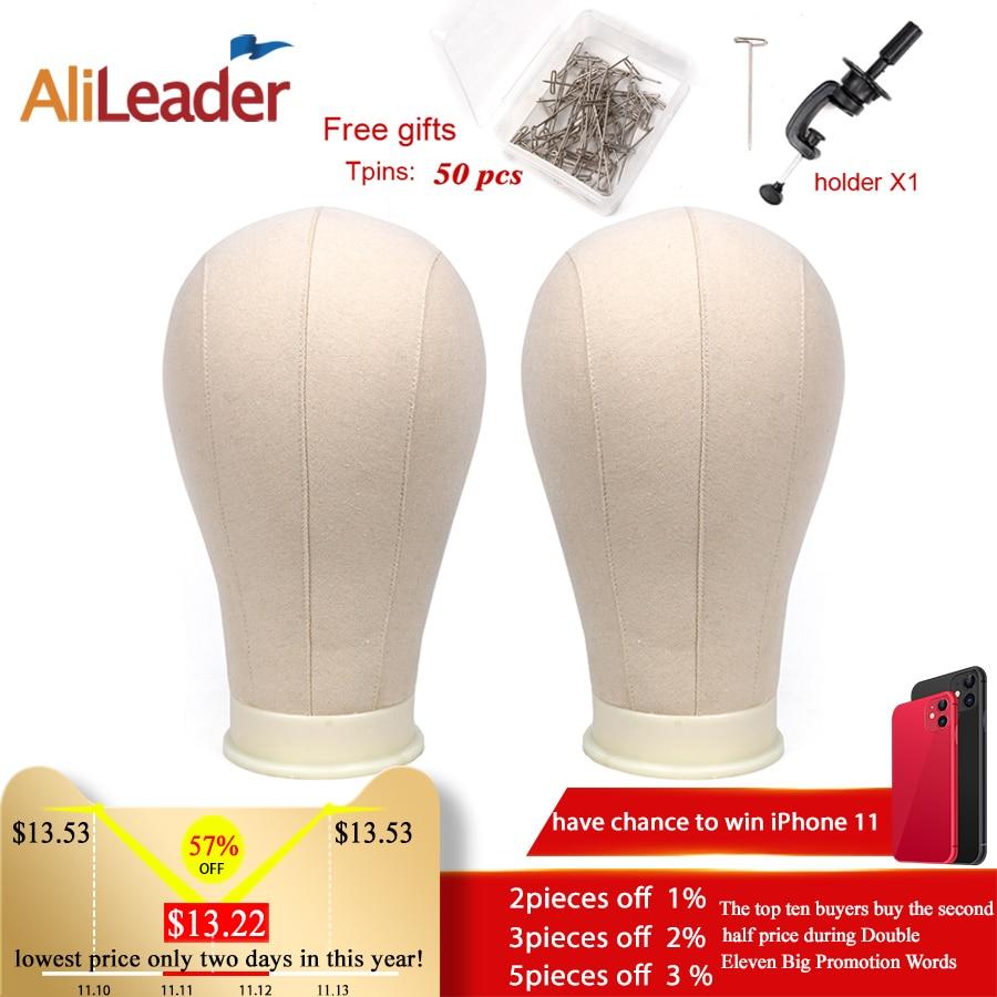 Alileader Training Mannequin Head Canvas Block Display Styling Manikin Wig Stand Free Get T Needle Holder