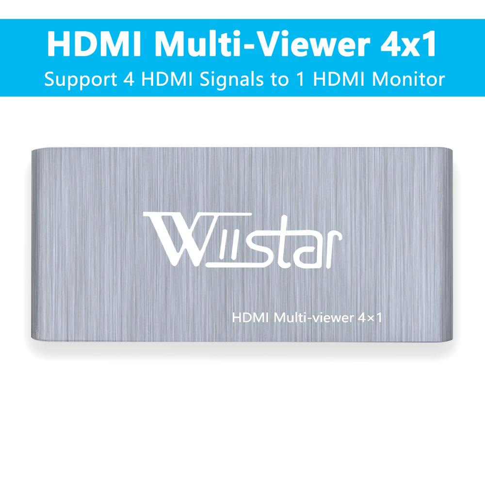 Wiistar 4x1 HDMI Switch Multi-Viewer HDMI 4x1 Quad Screen Real Time Multi-Viewer HDMI Splitter Seamless Switcher With IR Control