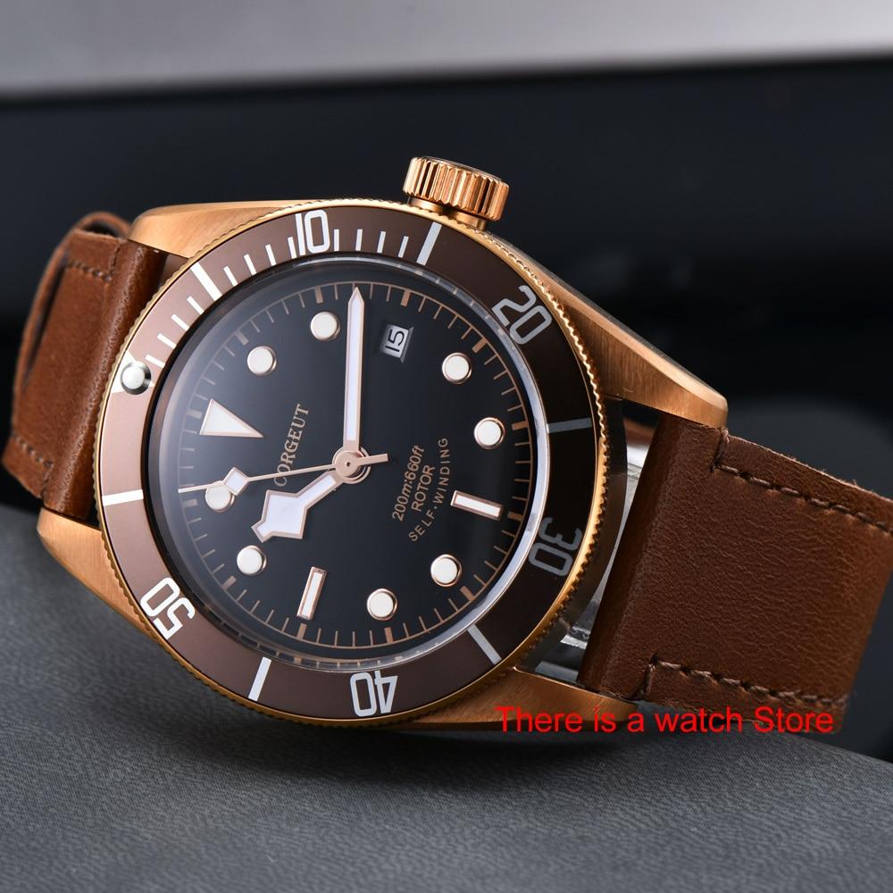 H1c58f315dfce4f1bb9d6c430d2a33e4dl Corgeut 41mm Automatic Watch Men Military Black Dial Wristwatch Leather Strap Luminous Waterproof Sport Swim Mechanical Watch